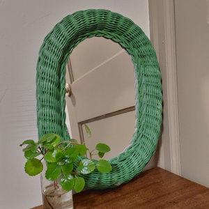 Vintage Rattan Wicker Hanging Oval Mirror
